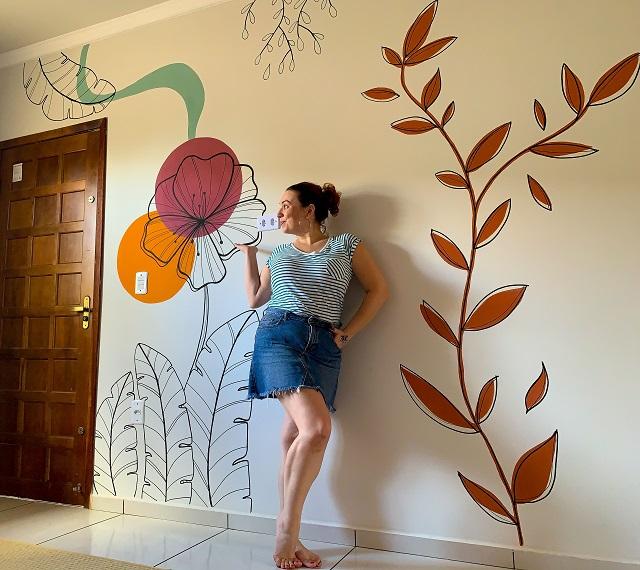 Parede pintada à mão livre