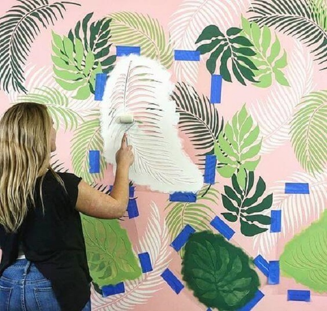 Pintura de folhas com stencil