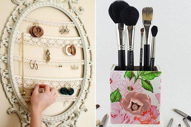 Porta bijuterias e porta pincéis de maquiagem personalizado