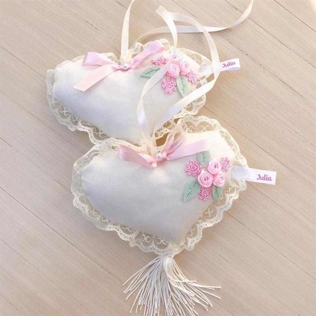Sachês perfumados em formato de coração