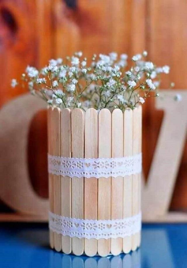 Vaso para plantas de palito de picolé
