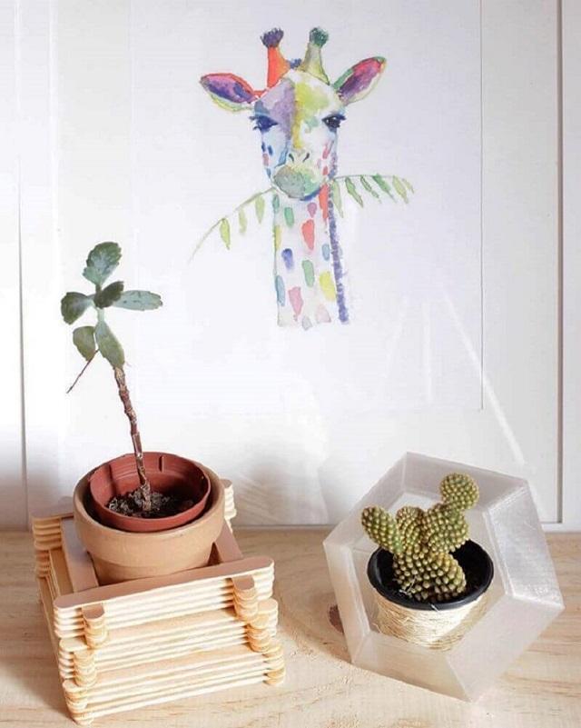 Suporte para plantas de palito de picolé