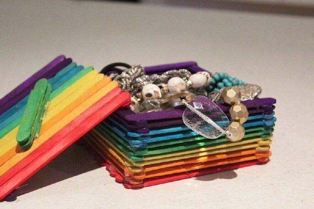 Porta joias de palito de picolé