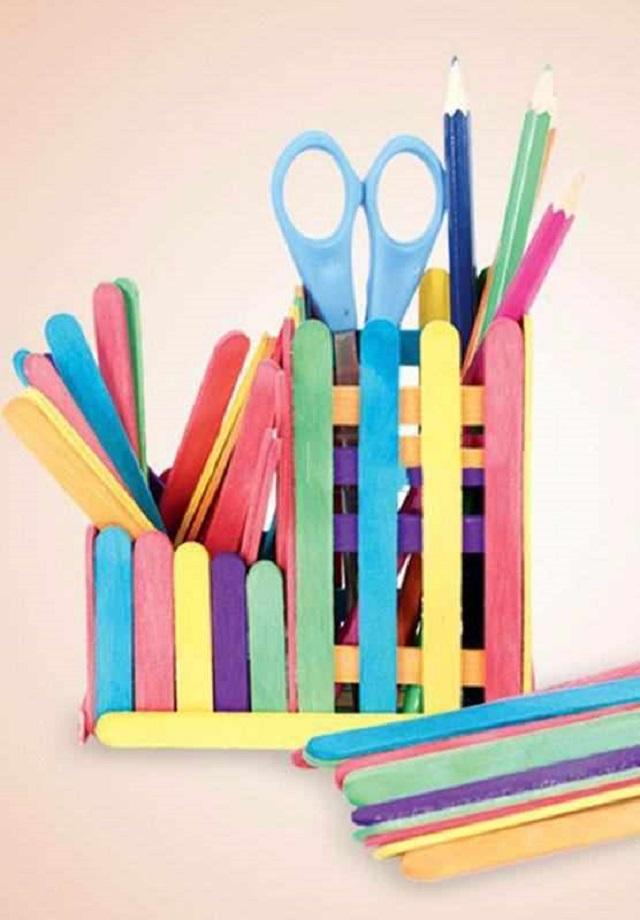 Porta lápis de palito de picolé