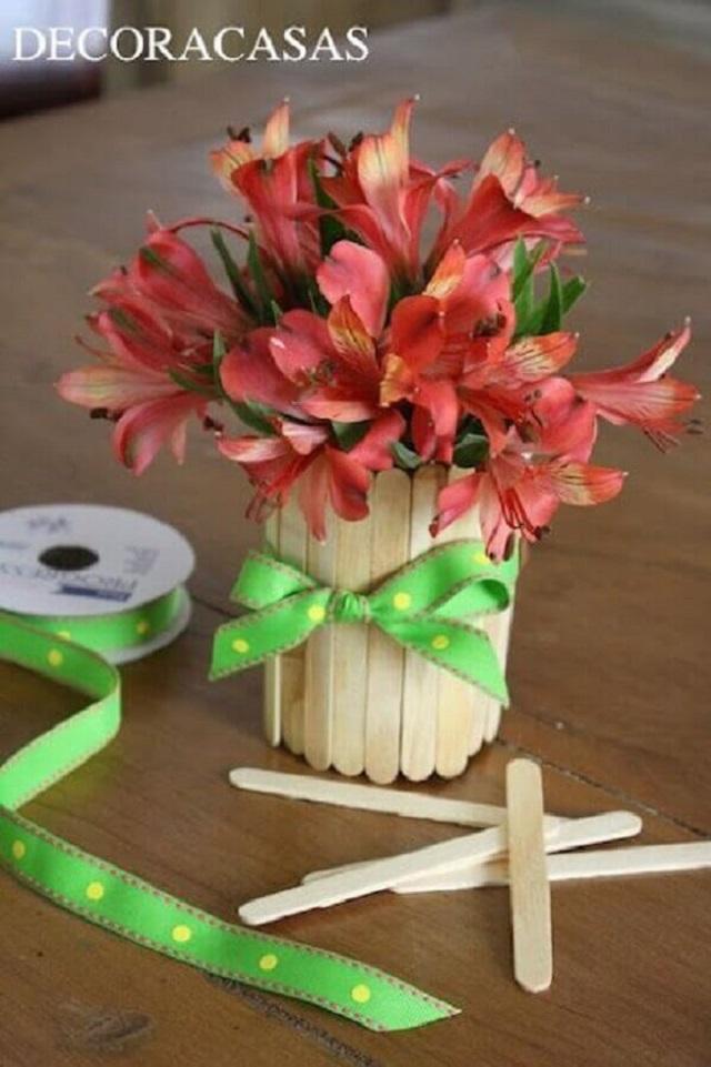 Vaso para planta de palito de picolé