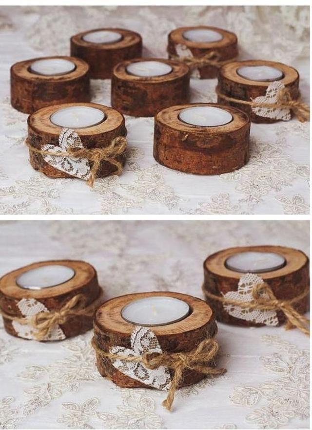 Castiçais de madeira