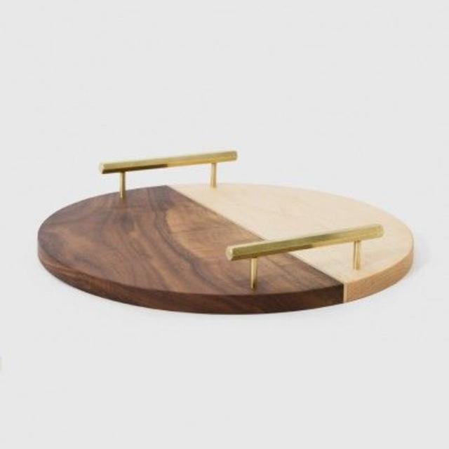 Bandeja redonda de madeira