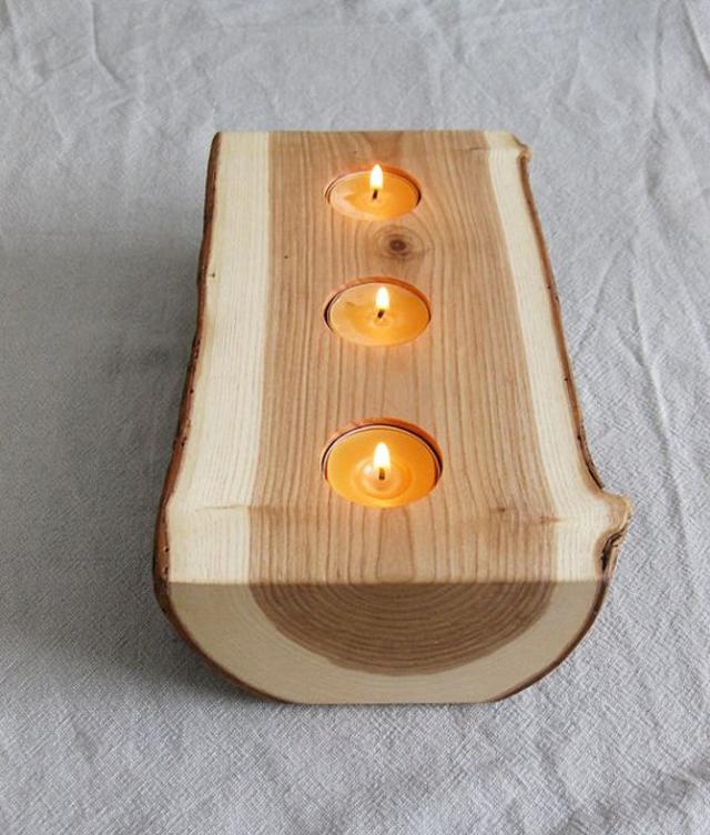 Porta velas de madeira