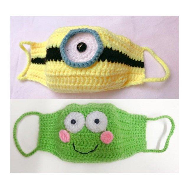 Máscaras de proteção de crochê dos minions