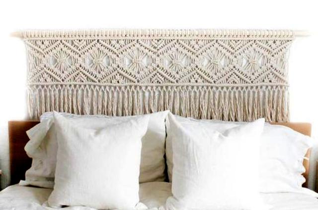 Cabeceira de cama de macramê