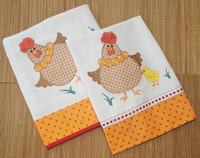 Panos de prato patchwork de galinha