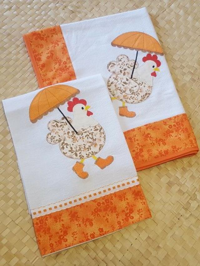 Pano de prato patchwork  de galinhas