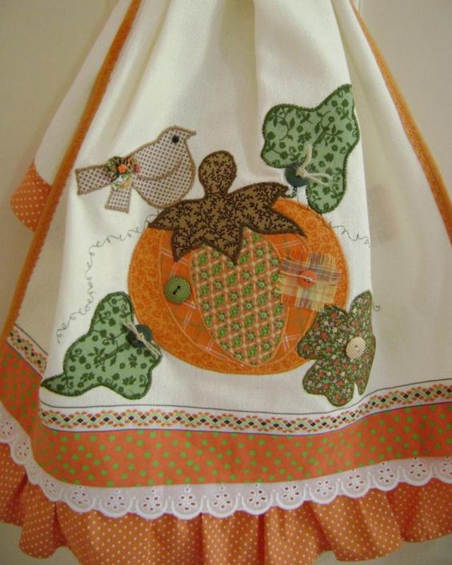 Pano de prato abóbora patchwork