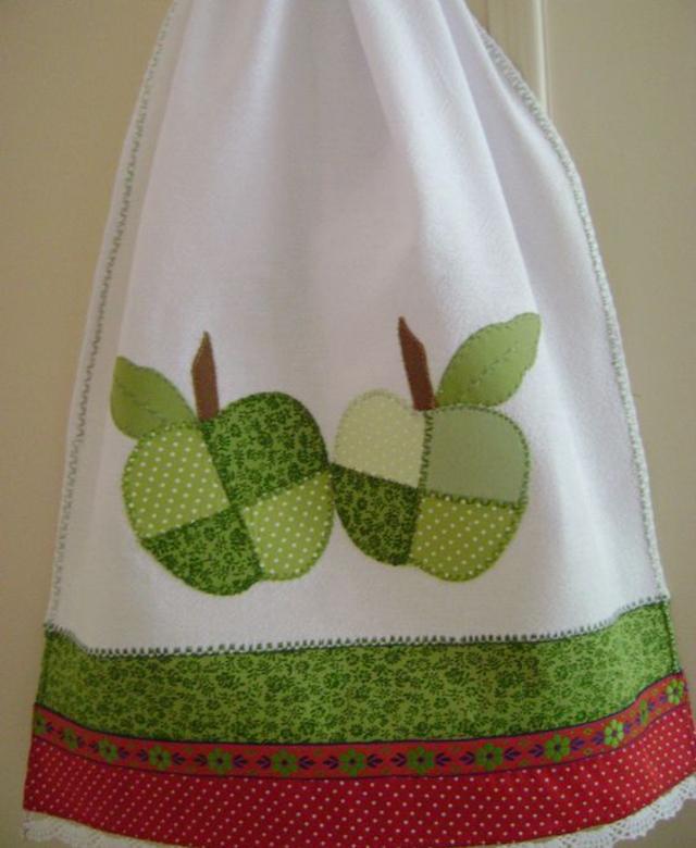 Pano de prato patchwork de maçãs
