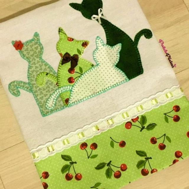 Pano de prato patchwork  de gatos