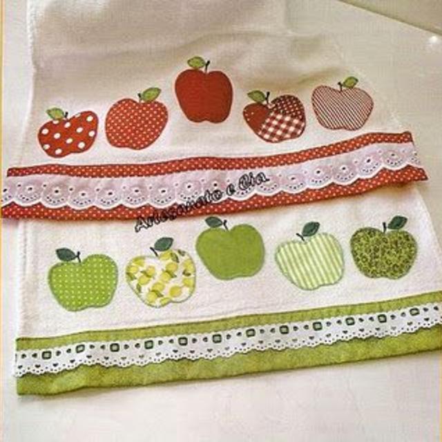 Panos de prato com maçãs patchwork