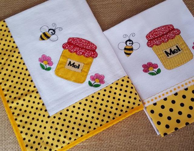 Pano de prato patchwork temático de abelha