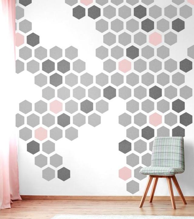 Stencil para parede geométrico