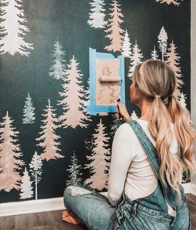 Stencil para parede de árvores