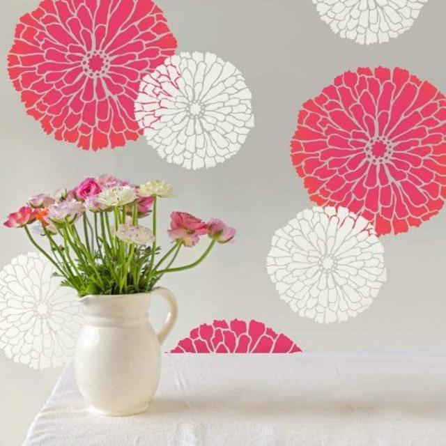Stencil para parede de flores