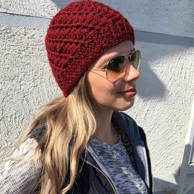 Touca de crochê vermelha