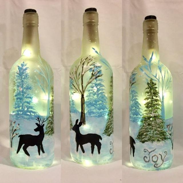 Luminária com desenhos geométricos de garrafa de vidro