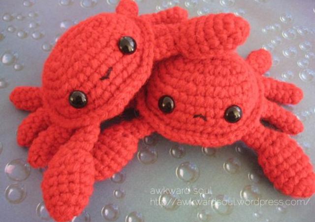 Caranguejos de amigurumi