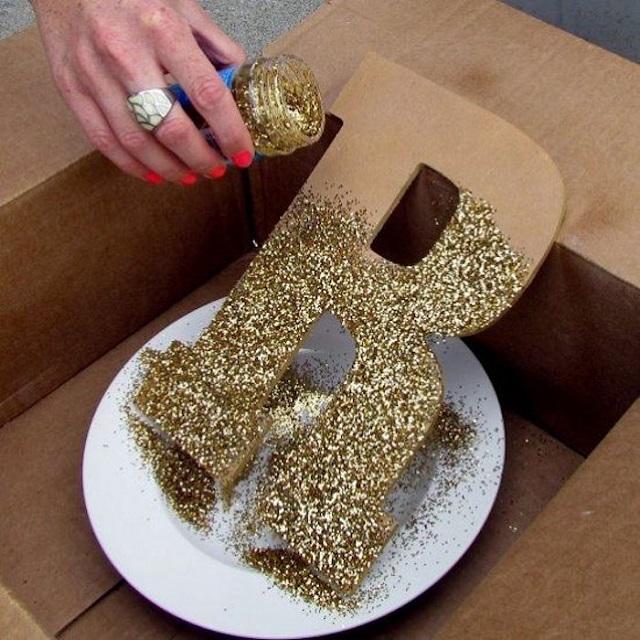Letra 3D com glitter