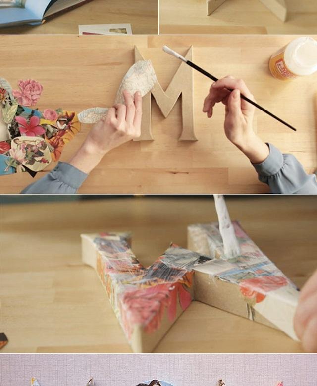 Letra 3D com decoupage