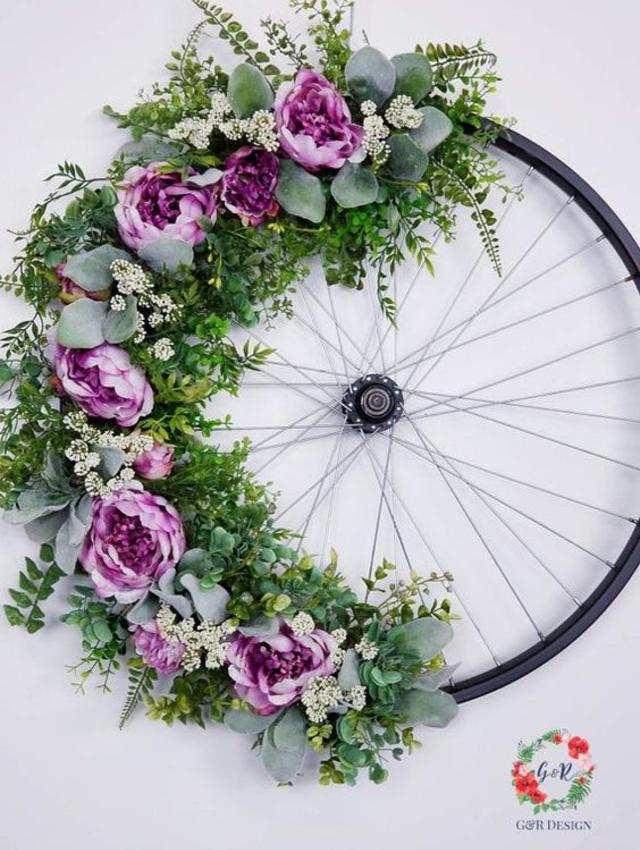 Decoração com roda de bicicleta
