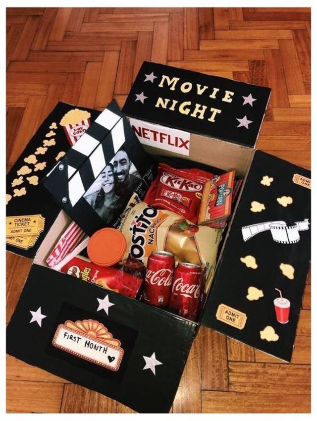 Decoração de noite do cinema para o dia dos namorados