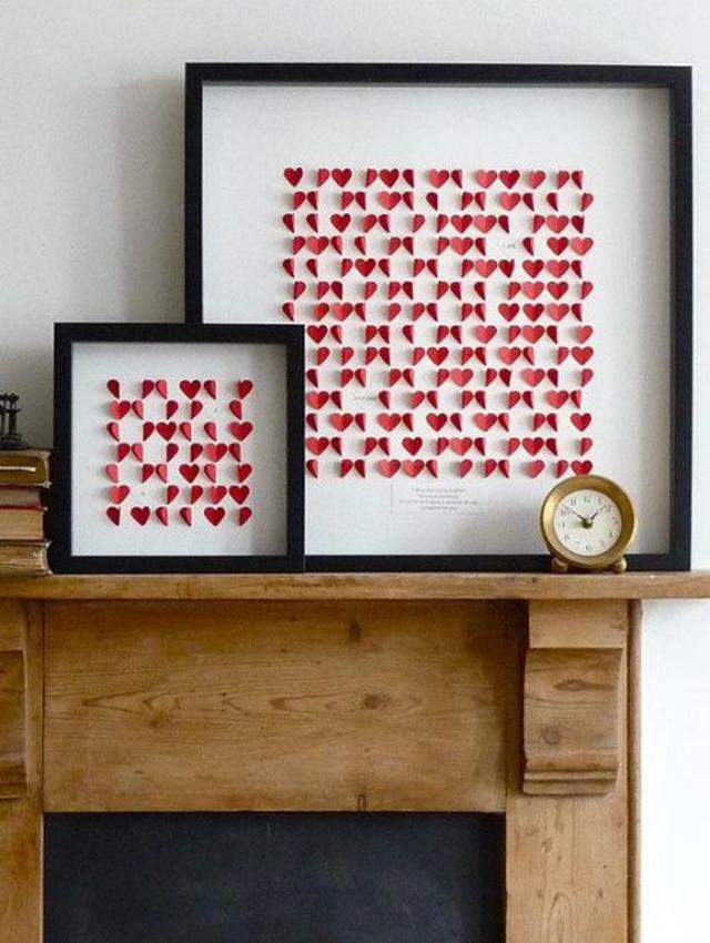 Decoração dia dos namorados com quadros de corações