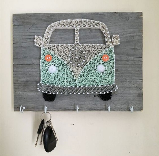 Porta chaves com string art