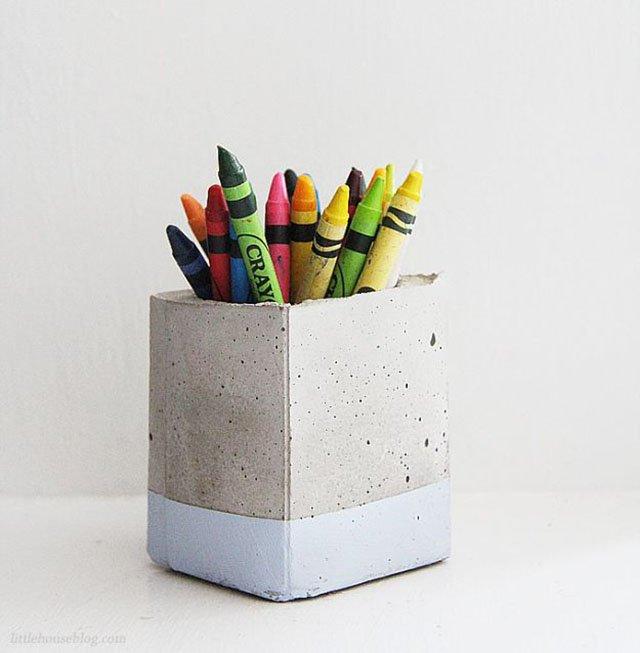 Porta lápis de concreto