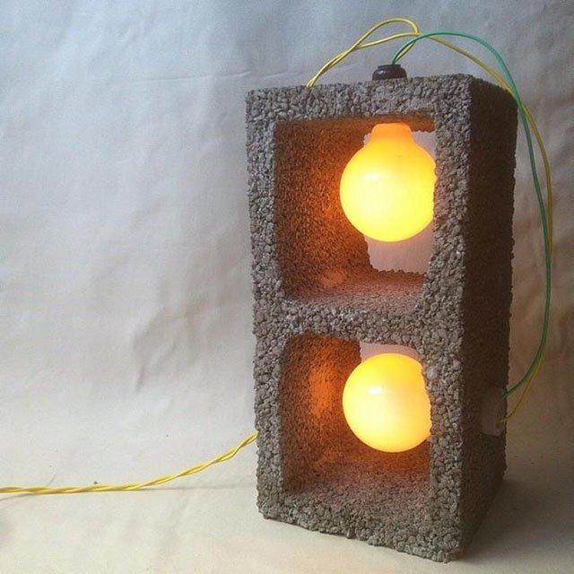 Luminária de bloco de concreto