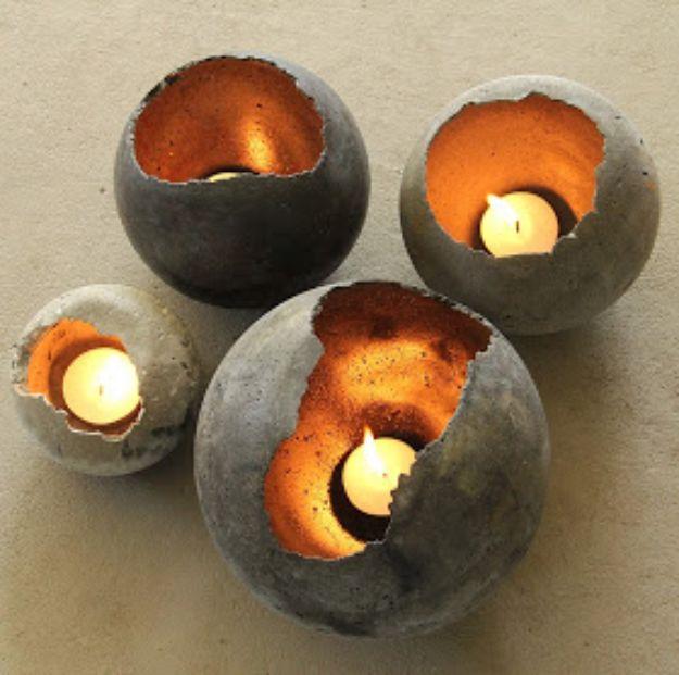 Porta velas de cimento