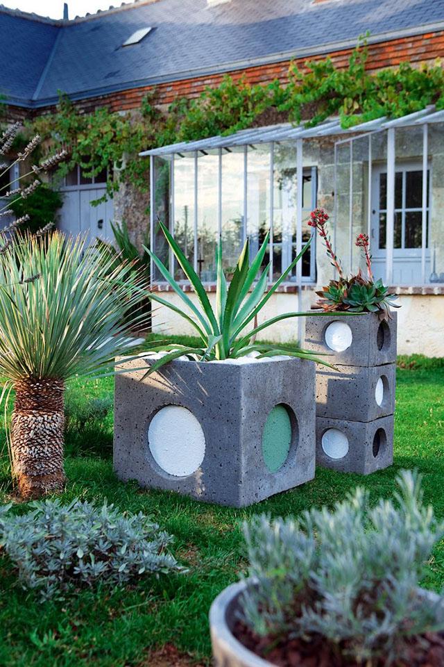 Vasos para plantas de concreto