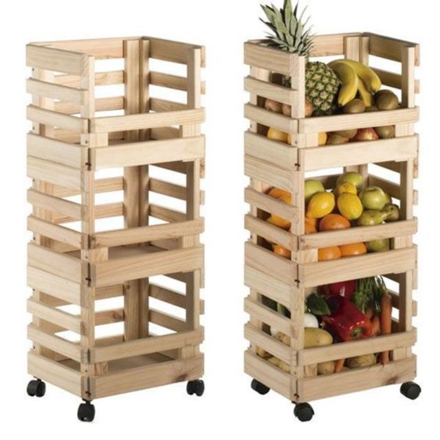 Fruteira de caixote de madeira