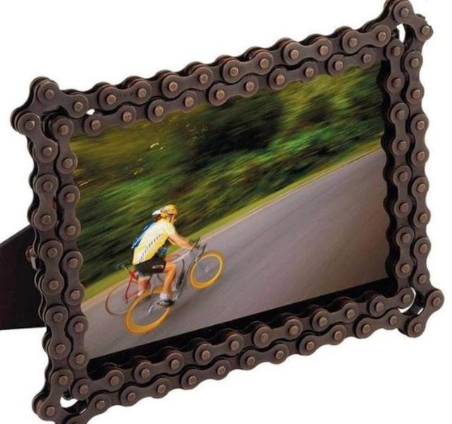 Porta retrato feito com corrente de bicicleta