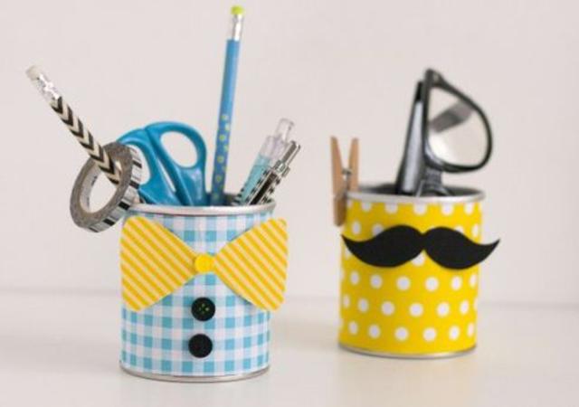 Porta caneta reciclado para dia dos pais