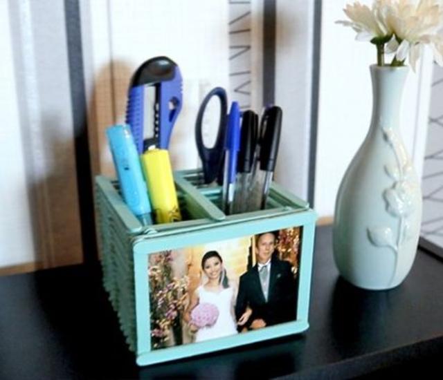 Porta caneta de palito de picolé para dia dos pais