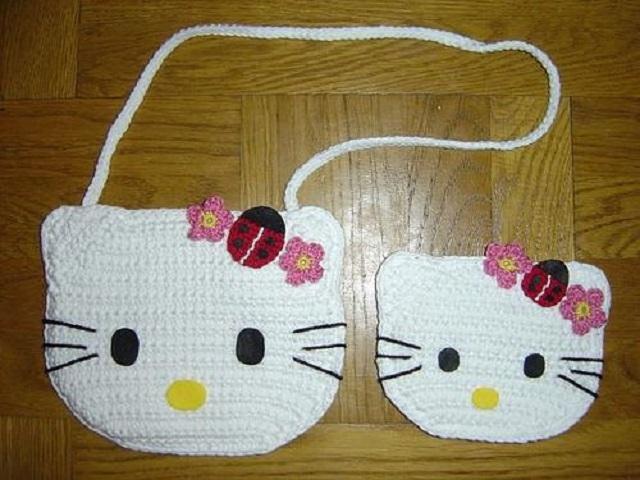 Bolsas de crochê infantil da Hello Kitty