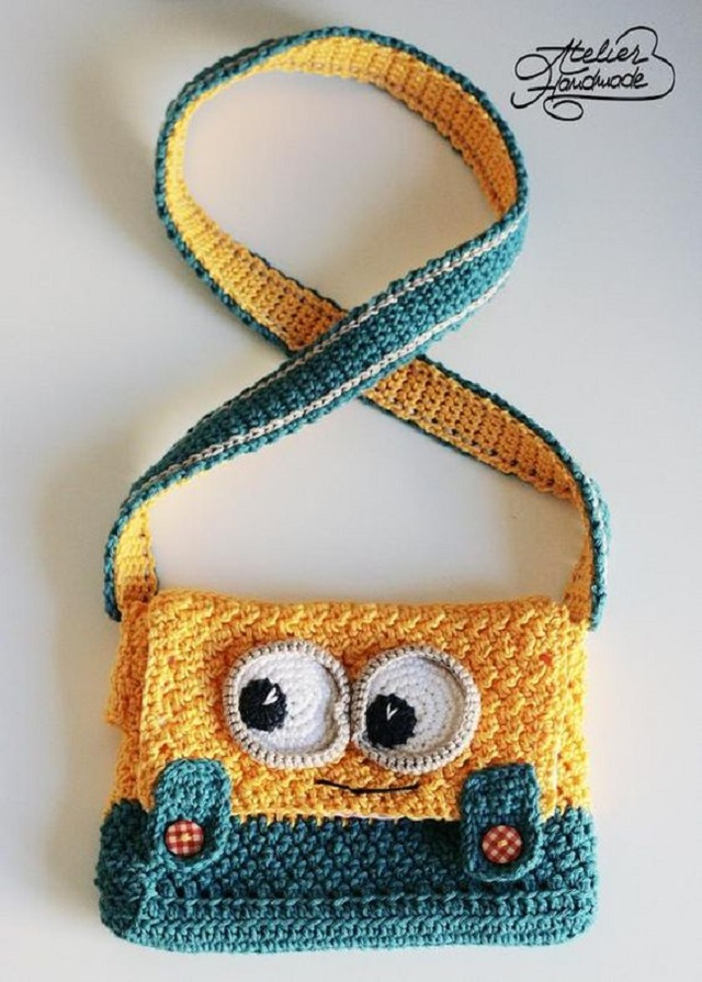 Bolsa de crochê infantil dos Minions