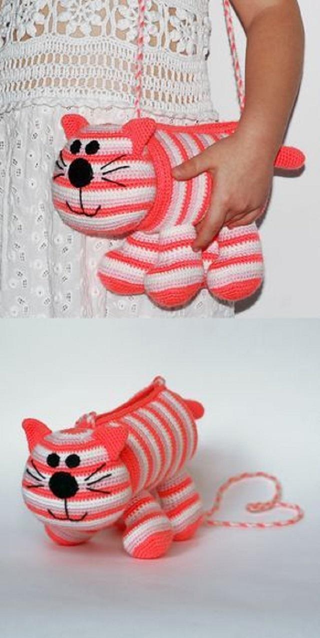 Bolsa de crochê infantil  de gatinho