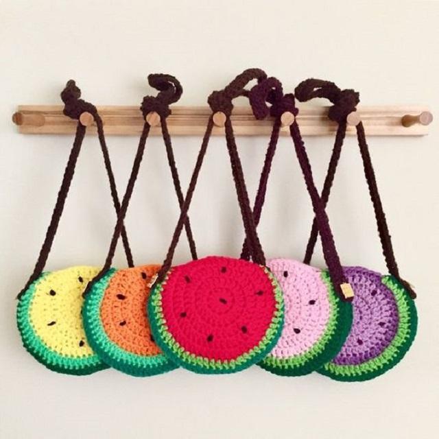 Bolsas de crochê infantil de melancia