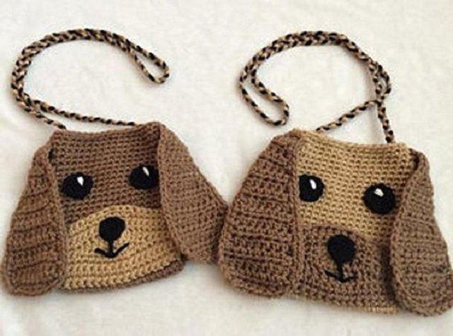 Bolsas de crochê infantil de cachorrinho