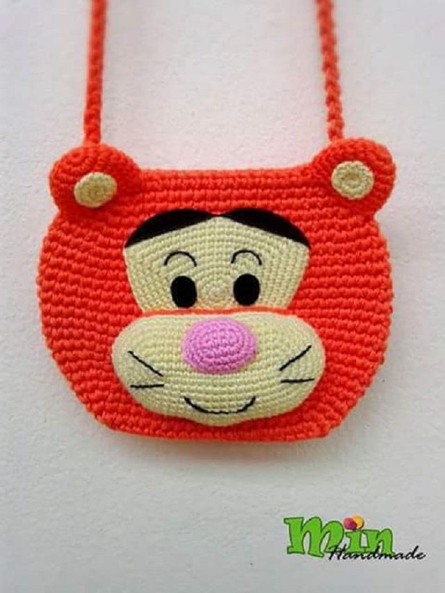 Bolsa de crochê infantil  do Tigrão