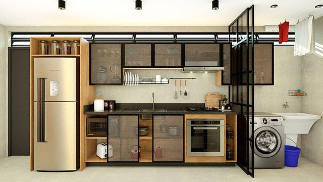 Armário de cozinha com portas transparentes