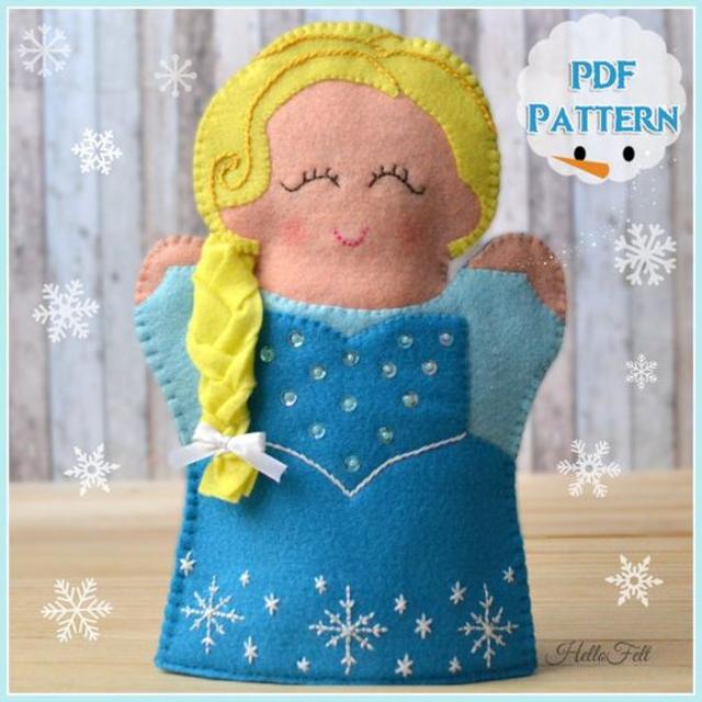 Fantoche Elsa Frozen de feltro