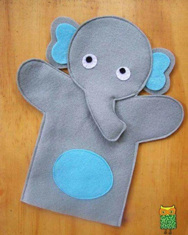 Fantoche de elefante de feltro